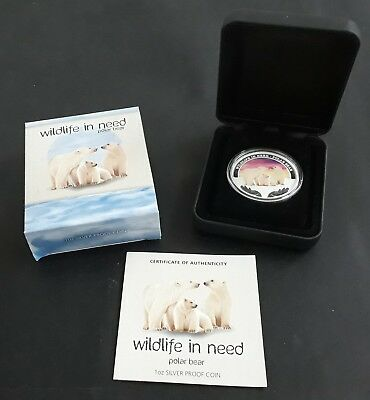 2012 Tuvalu Wildlife in Need: Polar Bear 1oz Silver ( .999 ) $1 Proof coin