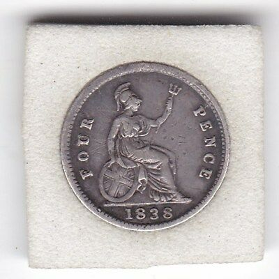 Sharp  Queen  Victoria  1838  Four  Pence  (Groat)  Coin  (92.5% Silver)