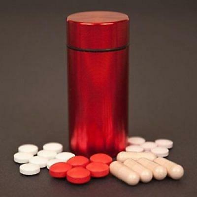 Red Metal Aluminum Herb Stash Container Airtight Smell Proof for Weed Storage