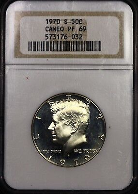 NGC PF69 Cameo Toned 1970 S SMS CAM Kennedy Half Dollar 50c Registry Top Pop PQ