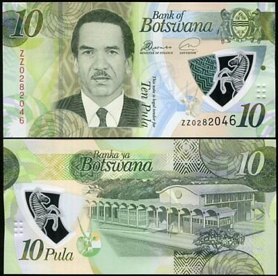 Botswana 10 Pula 2018 P New Polymer Zz Replacement Unc