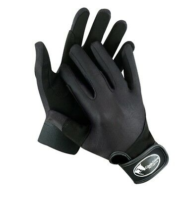 Black Synthetic Riding Gloves