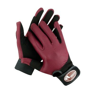 Burgundy/Maroon Synthetic Riding Gloves