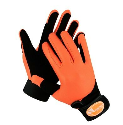 Orange Synthetic Riding Gloves