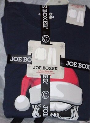 Joe Boxer Men's 2-Pc Long Sleeve Graphic Tee & Pant Pajama Set Skull Santa