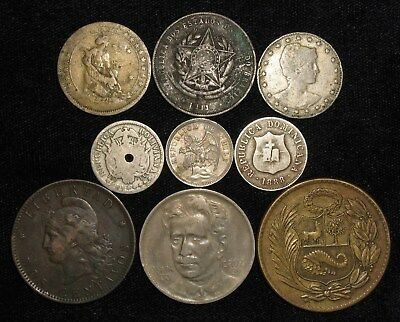 9 Coins from South and Central America.  1883-1944.  No Reserve!!!