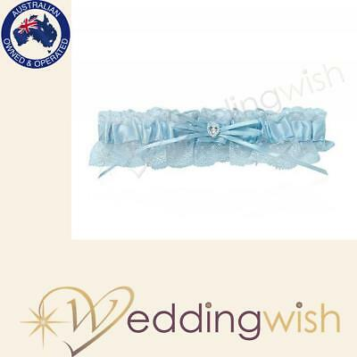 Blue Satin and Lace Wedding Garter with Pearl and Diamante Heart