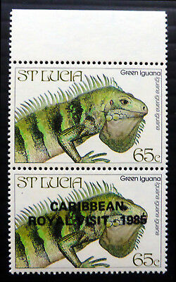 St LUCIA 1985 - 65c Iguana Pair With & Without OPT Error NH750
