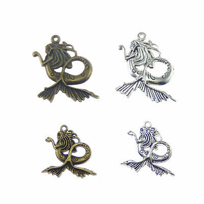 Lot of 4 Vintage Metal Alloy Mermaid Look Charm Necklace Pendant Jewelry Making