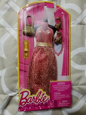 BARBIE Red and Gold Dress Gown with Purse and Shoes NEW Sealed Box