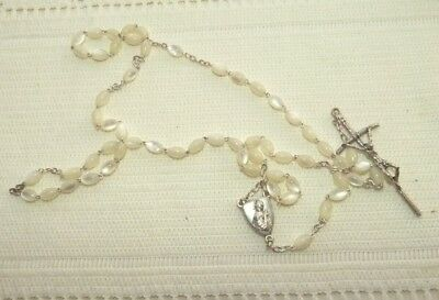 Jewellery Silver Tone Metal & White Glass Moonstone Set Of Rosary Beads 932