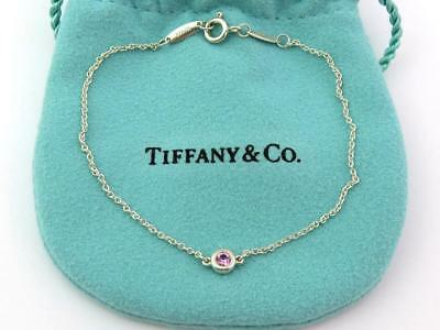 Authentic TIFFANY & CO Sterling Silver Pink Sapphire Color by the Yard Bracelet