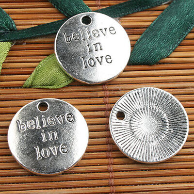 Alloy metal Tibetan Silver color round believe in love  charms 10pcs EF0122
