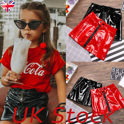 UK Toddler Kids Girls Leather Short Mini Holiday Skirt Party Casual Outfit Dress