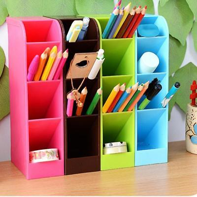 1X Plastic Desk Organizer Desktop Office Pen Pencil Holder Makeup Storage Box.US