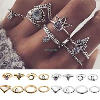 8 Pcs Ethnic Boho Style Festival Beach Tone Knuckle Rings Assorted Sets RLWH 02