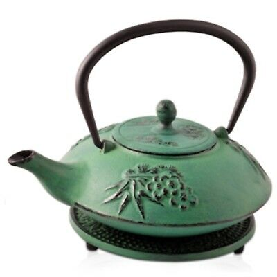 Cast Iron Blossom Green Teapot 700ml Antique Tea Chinese Japanese Vintage