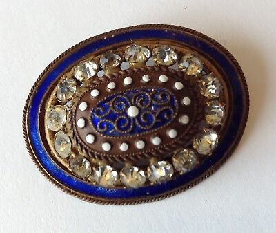 Vintage Art Deco/nouveau Clear Rhinestone Blue And White Enamel Brooch