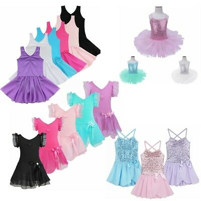 Girl Kid Leotard Gymnastics Ballet Dance Tutu Dress Ballerina Dancewear Costume