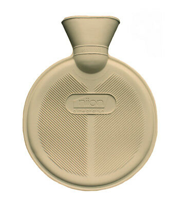 Round Cream Double Ribbed Small 800ml Hot Water Bottle