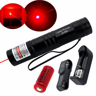Red 1mW 650nm Laser Pointer Pen Lazer Lamp Ray Beam + 16340 Battery Charger