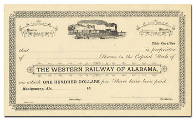 Western Railway of Alabama Stock Certificate (1800's)