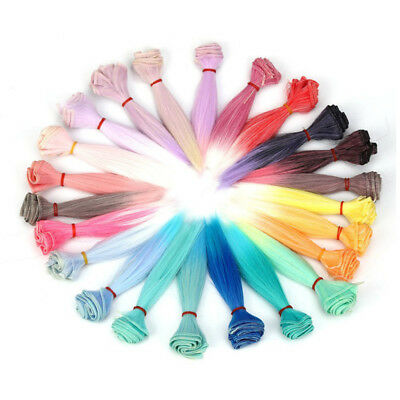 15x100cm DIY Doll Wig High Temperature Straight Hair Synthetic Fiber 5 Colors