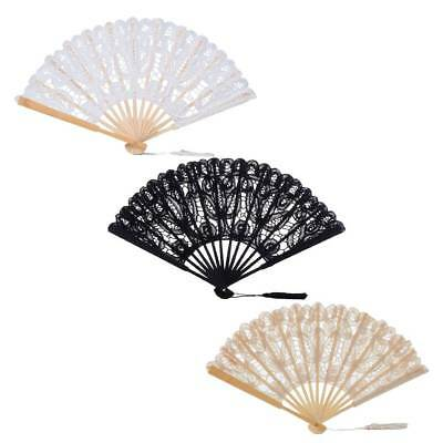 Handmade Cotton Lace Folding Hand Fan for Party Bridal Wedding Decor 3 Colors
