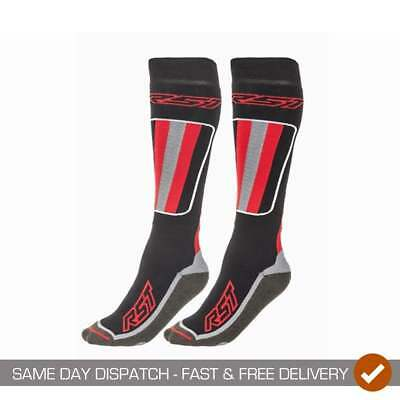 RST Adults Tour Tech 0003 Motor Bike Motorcycle Quality Riding Socks - Black/Red