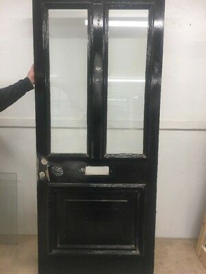 1 Large Victorian Front Door Wooden Reclaimed Old Antique Pine Glazed Period