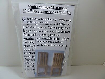 Dolls House Miniature 1:12 Scale Furniture Kitchen Stretcher Back Chair Kit x 1