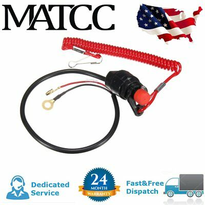 US Outboard Engine Motor Kill Stop Switch & Safety Tether Cord Lanyard ATV Boat