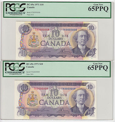 Low Serial Numbered 1971 Bank of Canada $10 - Serial #8 & 9 - PCGS Gem New 65PPQ