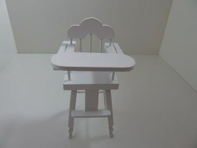 Dolls House Miniature 1:12th Scale Furniture Nursery White Wooden High Chair