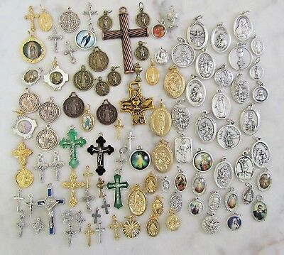 Lot 100 Saint holy medals Miraculous Benedict Medal for rosary rosaries bracelet