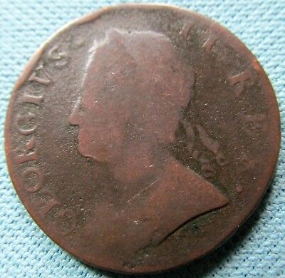 1754 King George II British US Colonial Copper Halfpenny - Historic Old Coin