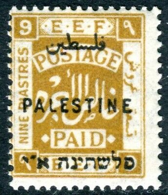 PALESTINE-1922 9p Ochre Perf 14.  A lightly mounted mint example Sg 82b
