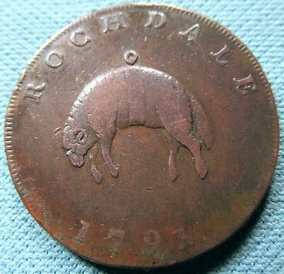 1791 British Conder Halfpenny Token - Rochdale Hanging Fleece Man at Loom