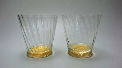 Pair Vtg UNION STREET GLASS Hand Blown MANHATTAN Double OLD FASHIONED Glasses