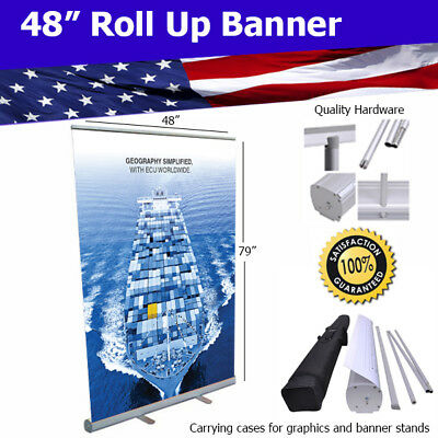 "Aluminum 48""x80"" Retractable Roll Up Banner Stand Trade Show FREE SHIPPING"