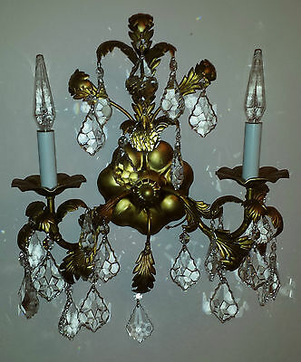 VINTAGE TOLE GOLD ITALIAN ITALY CHANDELIER WALL LIGHT 25 CRYSTALS FIXTURE 1950's
