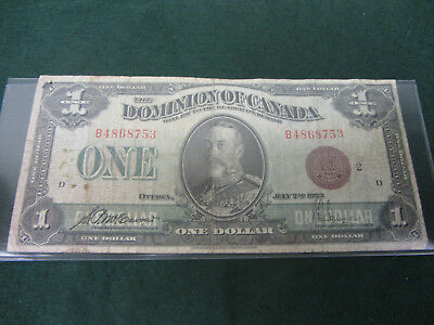 1923 Dominion Of Canada $1 Bill Large Note Bronze Seal