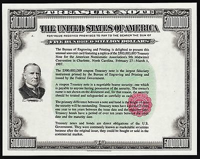 Proof Print Or Intaglio Impression By Bep - $500 Million Treasury Note