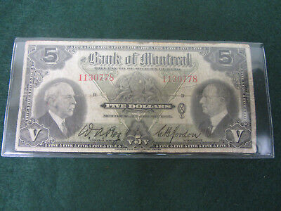 1935 Canada Bank Of Montreal $5 Note