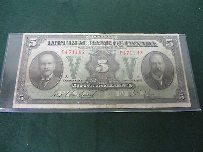 1923 Imperial Bank of Canada $5 Bank Large Note!