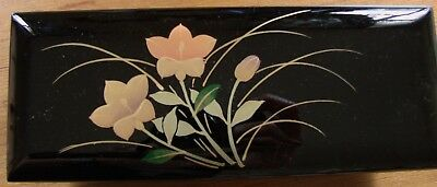 Princes black Japanese lacquer box with floral decoration, mirror, red interior