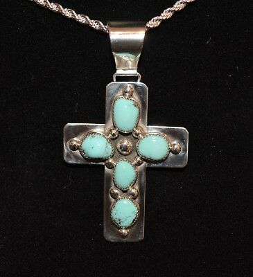 Necklace Cross Turquoise & Sterling Silver Native American Navajo Artist Johnson