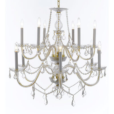 Weinstock 12-light Gold Crystal Chandelier With French Pendelogue Crystal Trim
