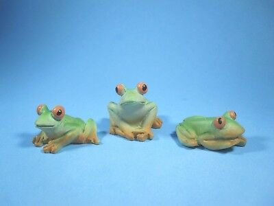 Miniature Resin Frogs Figurines~ Set Of 3 Woodland Fairy/gnome Garden