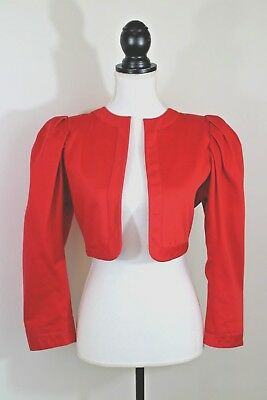 Yves Saint Laurent Rive Gauche Vintage 70s 80s Cropped Bolero Jacket Red Size 38